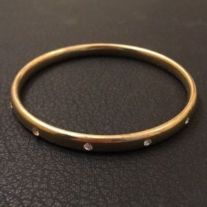 Anthropology Gold Plate Diamond Bangle Bracelet